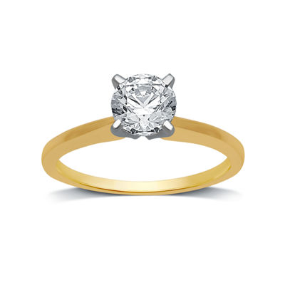Womens 1 CT. T.W. Genuine White Diamond 10K Gold Round Solitaire Engagement Ring