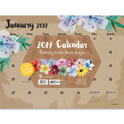 Tf Publishing 2019 Floral Mini Desk Pad Desktop Calendar