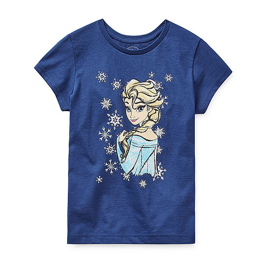 Disney Collection Girls Crew Neck Short Sleeve Frozen Graphic T-Shirt - Preschool / Big Kid