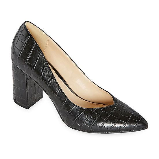 Liz Claiborne Womens Haslett Slip-on Pointed Toe Block Heel Pumps