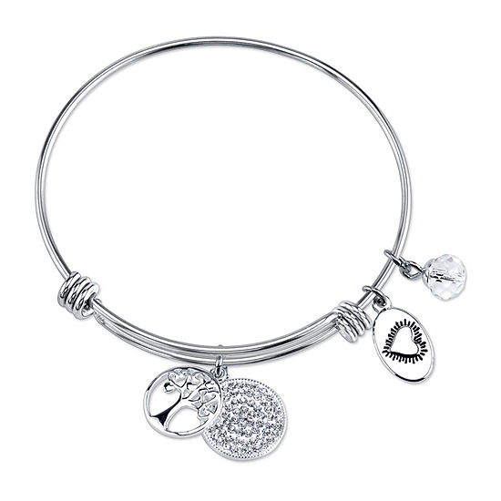 Footnotes Family Clear Silver Over Brass Stainless Steel Bangle Bracelet