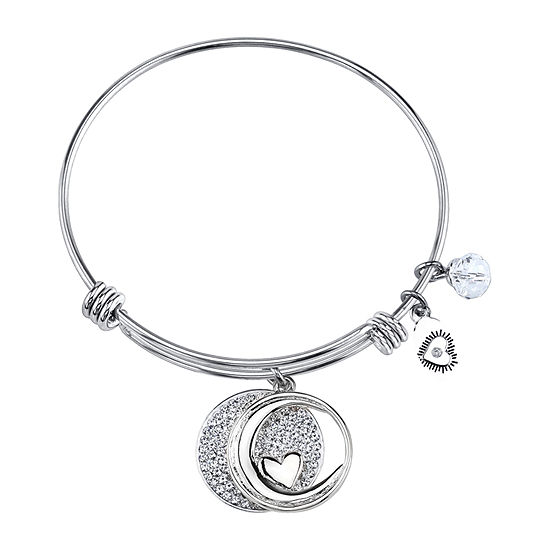 Footnotes Love You To The Moon And Back Clear Silver Tone Pure Silver Over Brass Round Bangle Bracelet