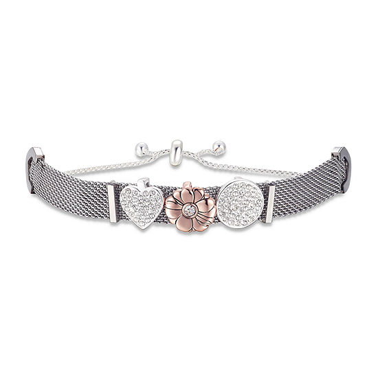 Footnotes Crystal Stainless Steel 8 1/4 Inch Heart Bolo Bracelet