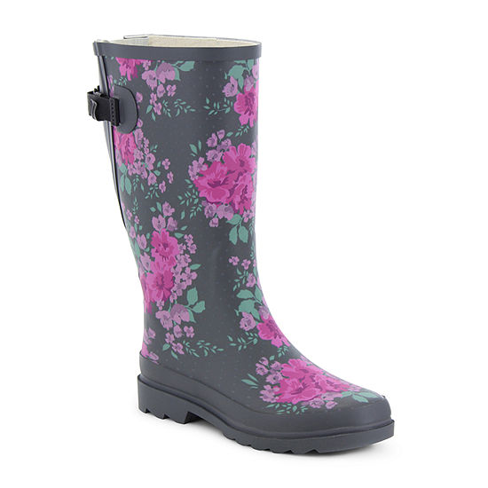 Western Chief Womens Floral Home Vari-Fit Rain Boots Waterproof Flat Heel Extra Wide Width