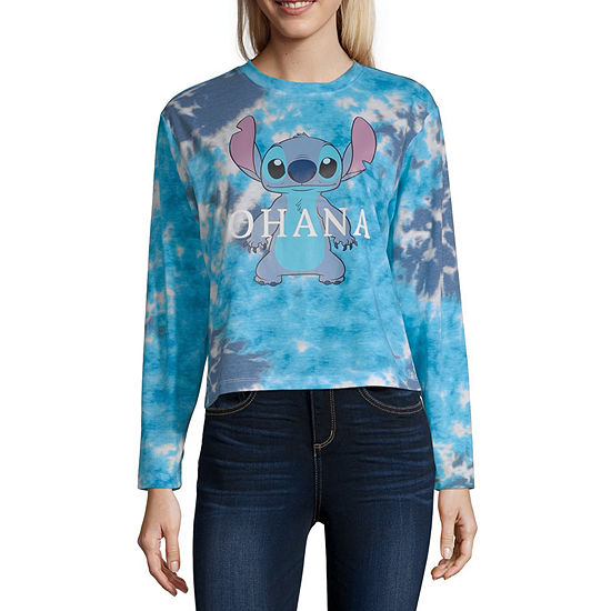 Womens Crew Neck Long Sleeve Lilo & Stitch Graphic T-Shirt - Juniors