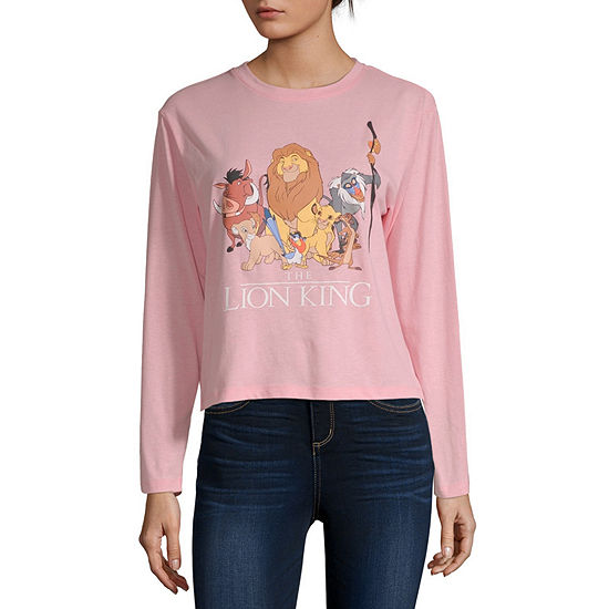 Womens Crew Neck Long Sleeve The Lion King Graphic T-Shirt - Juniors