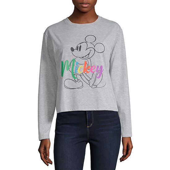 Juniors Mickey Mouse Womens Crew Neck Long Sleeve Mickey Mouse Graphic T-Shirt