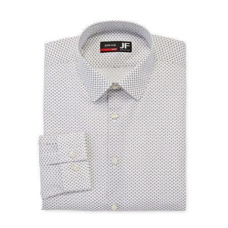 JF J.Ferrar Mens Point Collar Long Sleeve Stretch Dress Shirt - Slim, 17-17.5 34-35, Gray