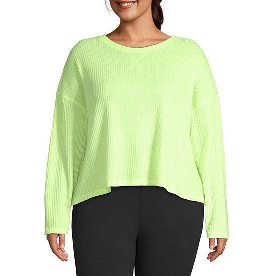 Flirtitude Juniors Plus-Womens Crew Neck Long Sleeve T-Shirt
