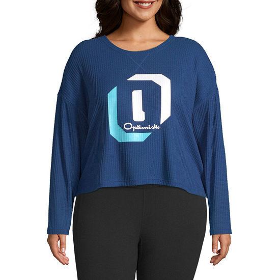 Flirtitude Juniors Plus-Womens Crew Neck Long Sleeve T-Shirt
