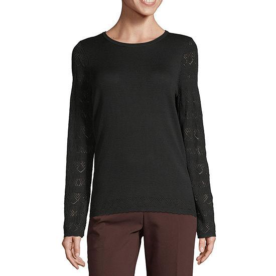 Liz Claiborne Womens Crew Neck Long Sleeve Pullover Sweater