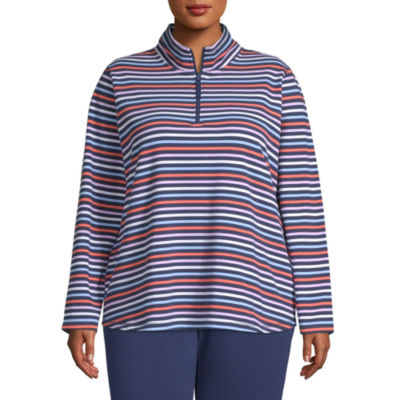 St. John's Bay Plus Womens Mock Neck Long Sleeve Quarter-Zip Pullover
