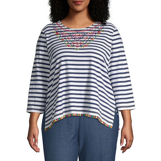 Alfred Dunner Plus Road Trip-Womens Round Neck 3/4 Sleeve T-Shirt
