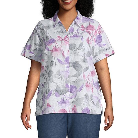Alfred Dunner Classics Womens Short Sleeve Camp Shirt-Plus