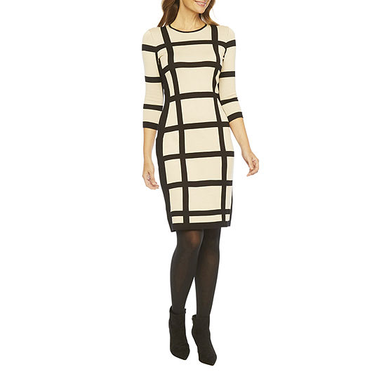 Liz Claiborne 3/4 Sleeve Midi Sweater Dress