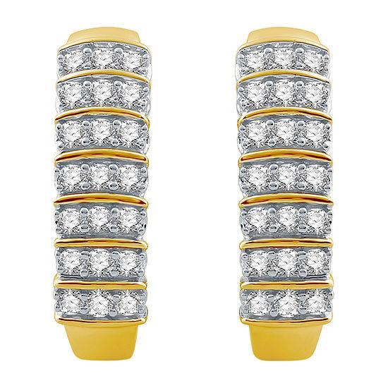 Ever Star 1 CT. T.W. Lab Grown Diamond 10K Gold 22.6mm Hoop Earrings