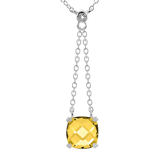 Womens Genuine Yellow Citrine Sterling Silver Square Y Necklace
