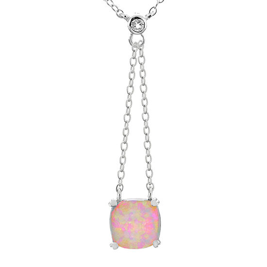 Womens Lab Created White Opal Sterling Silver Square Y Necklace