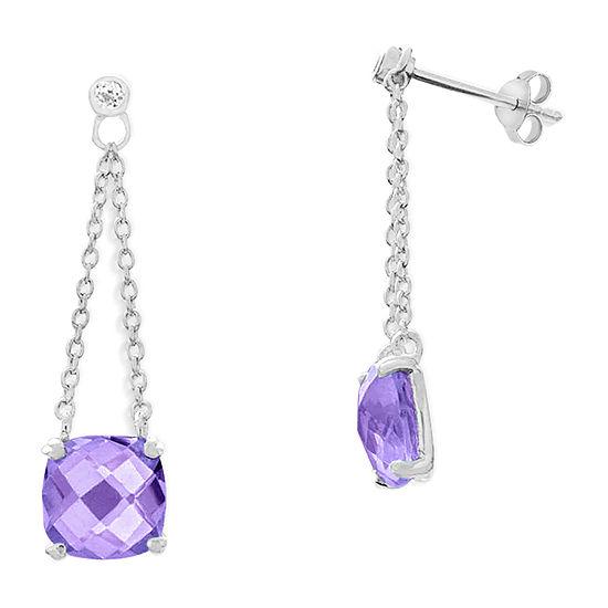 Genuine Purple Amethyst Sterling Silver Square Drop Earrings