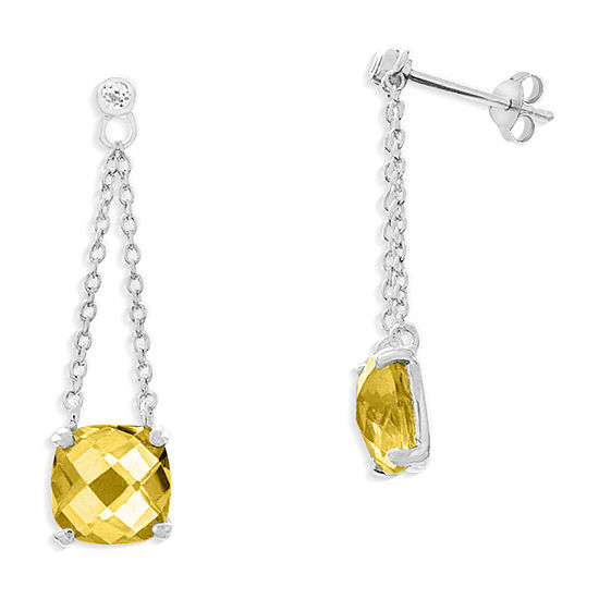 Genuine Yellow Citrine Sterling Silver Square Drop Earrings