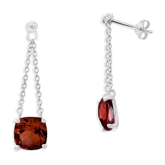 Genuine Red Garnet Sterling Silver Square Drop Earrings