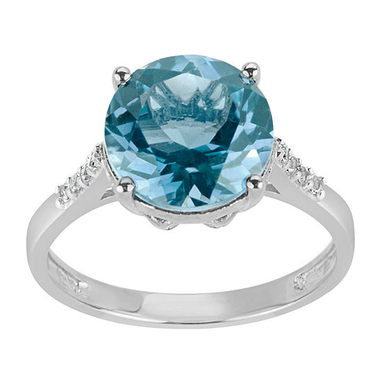 Womens Genuine Blue Topaz Sterling Silver Round Cocktail Ring