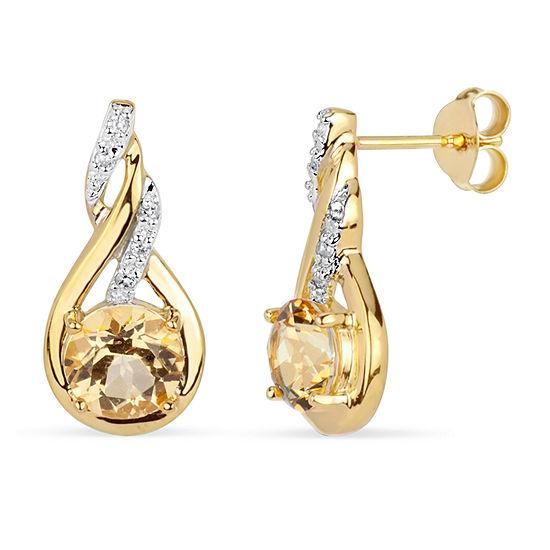 Genuine Yellow Topaz 18K Gold Over Silver Drop Earrings