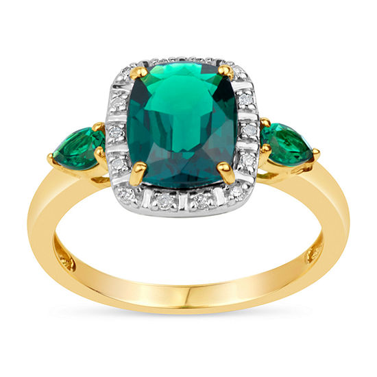 Womens Genuine Green Topaz 18K Gold Over Silver Cocktail Ring