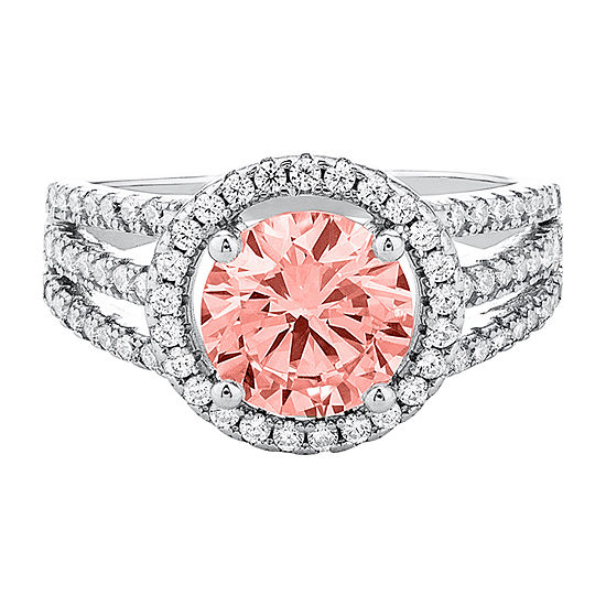 Womens Simulated Pink Morganite Sterling Silver Cocktail Ring