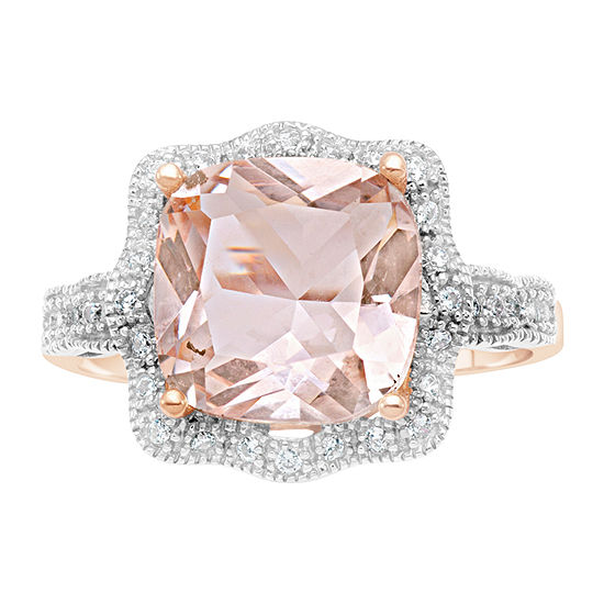 Womens 3MM Simulated Pink Morganite 18K Rose Gold Over Silver Band