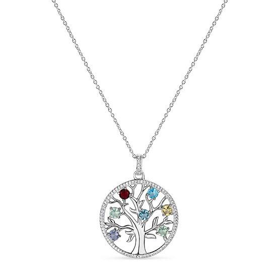 Womens Genuine Multi Color Stone Sterling Silver Pendant