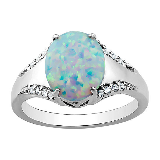 3MM Lab Created White Opal Sterling Silver Band