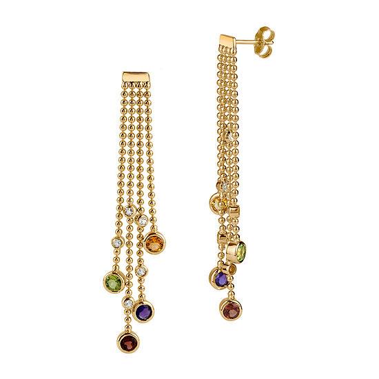 Genuine Multi Color 18K Gold Over Silver Drop Earrings
