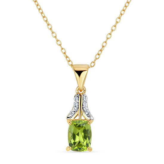 Womens Genuine Green Peridot 18K Gold Over Silver Pendant