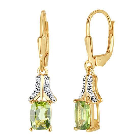 Genuine Green Peridot 18K Gold Over Silver Drop Earrings