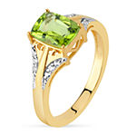 3MM Genuine Green Peridot 18K Gold Over Silver Band