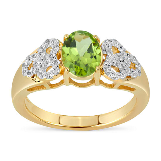 Womens 3MM Genuine Green Peridot 18K Gold Over Silver Band
