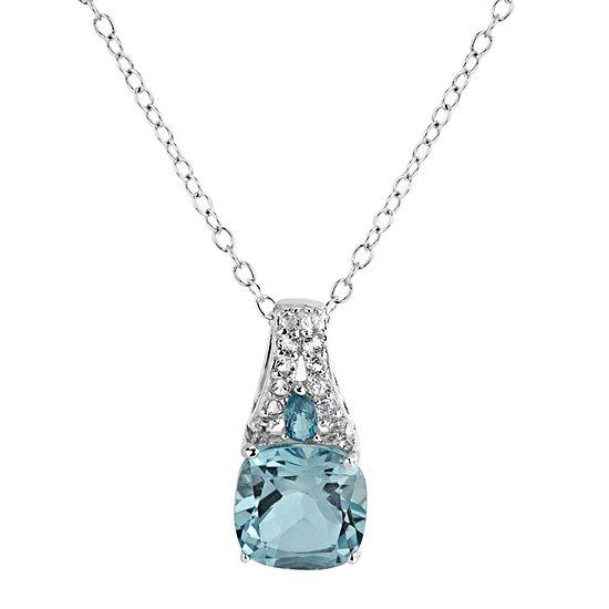 Womens Genuine Blue Topaz Sterling Silver Pendant