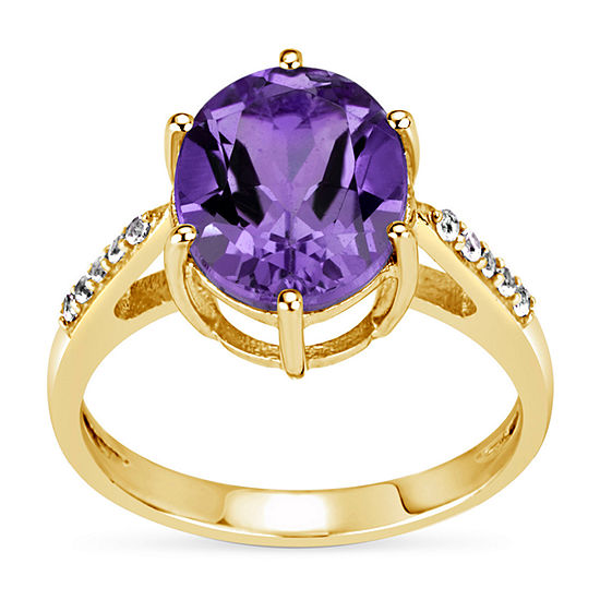 Womens Genuine Purple Amethyst 18K Gold Over Silver Cocktail Ring