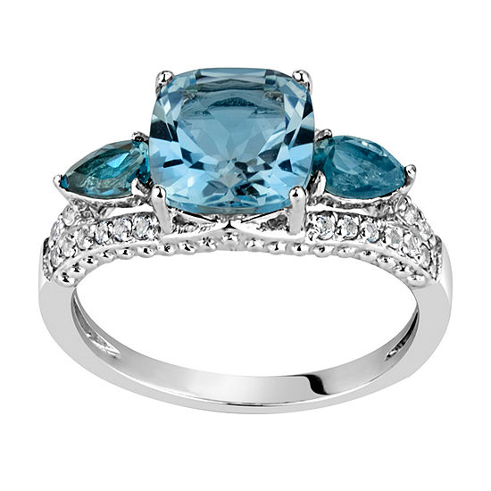 Womens 3MM Genuine Blue Topaz Sterling Silver Band