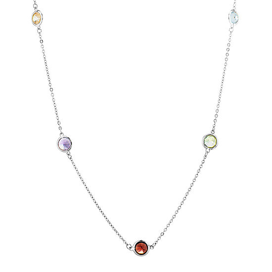 Womens 18 Inch Multi Color Stone Sterling Silver Link Necklace