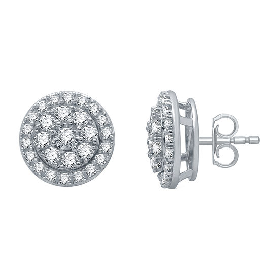 1 CT. T.W. Genuine Diamond Sterling Silver 11.6mm Stud Earrings