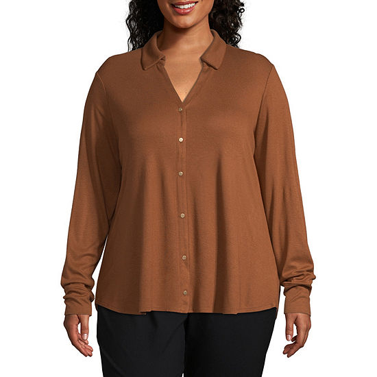 Worthington Womens Long Sleeve Knit Button Front Shirt - Plus