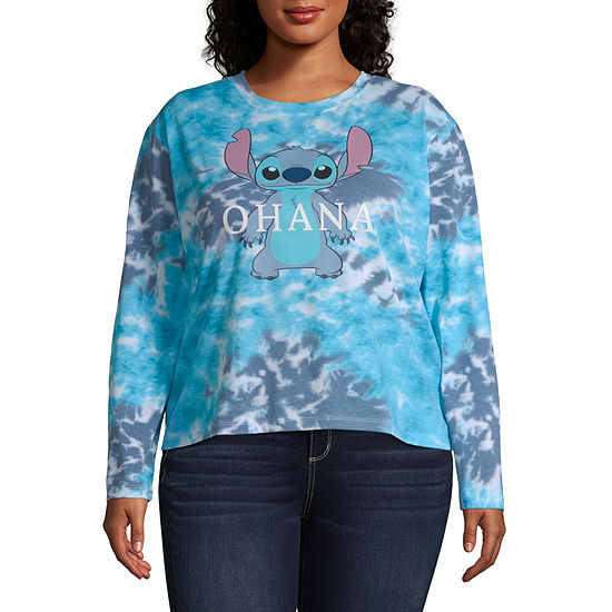 Womens Crew Neck Long Sleeve Lilo & Stitch Graphic T-Shirt - Juniors Plus