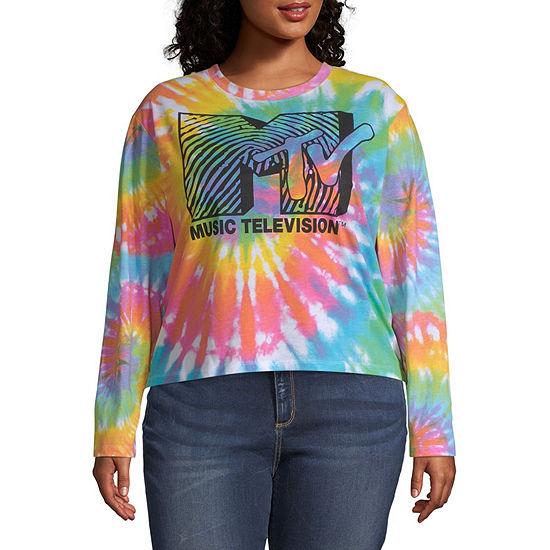 Womens Crew Neck Long Sleeve Graphic T-Shirt - Juniors Plus