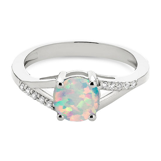 Womens Lab Created White Opal Sterling Silver Round Cocktail Ring