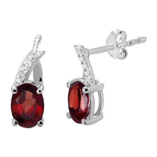 Genuine Red Garnet Sterling Silver 12.1mm Oval Stud Earrings