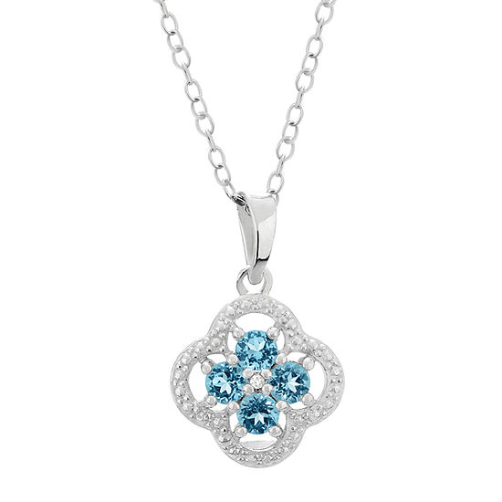 Womens Diamond Accent Genuine Blue Topaz Sterling Silver Flower Pendant Necklace