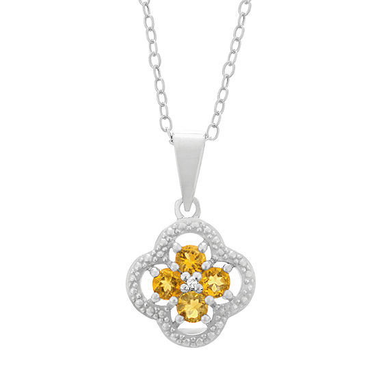 Womens Diamond Accent Genuine Yellow Citrine Sterling Silver Flower Pendant Necklace