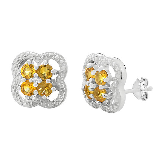 Diamond Accent Genuine Yellow Citrine Sterling Silver 13mm Flower Stud Earrings